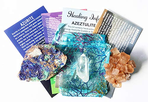 Azurite, Aragonite Star Cluster & Azeztulite Crystal Gift Set with Certificate of Authenticity NC