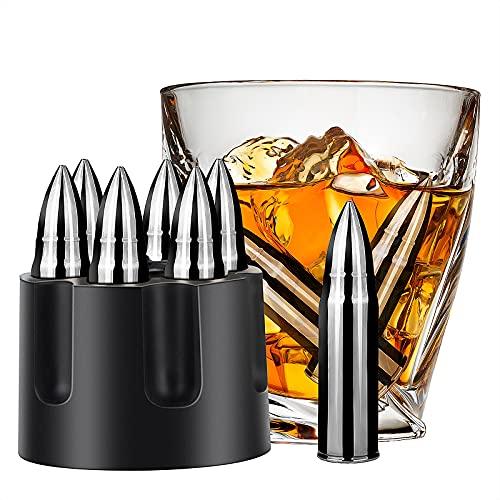 Whiskey Stones Reusable Ice Cube Stainless Steel Whisky Gift Set for Men, Dad, Husband, Boyfriend (6 PCS)