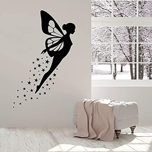 WERWN Mariposa de Dibujos Animados de Hadas Tatuajes de Pared alas mágicas Pegatinas de Cuento de Hadas Dormitorio de los niños habitación de la niña decoración Creativa del hogar