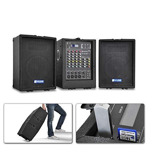 Skytec PA100USB Système Enceintes Amplifiées complet, Sono Portable avec table de mixage 4 canaux, amplificateur, 2 hauts parleurs 2 voies, idéal pour utilisation mobile, transport facile