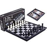 PUTAOYOU 3-en-1 Juego de ajedrez magnético de metal Piezas de...