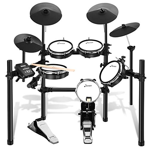 Donner DED-200 Electric Drum Set Electronic Drum Kit with 225 Sounds, More Stable Iron Metal Support, 5 Drums 4 Cymbals, Electric Drum, Audio Line, Drum Stick
