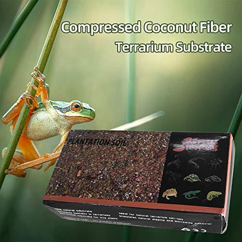 Fesjoy Sustrato de Fibra de Coco comprimido Sustrato para Tortuga Rana Lagarto Araña Escorpión Serpiente Reptiles Mascotas Sustrato de Coco comprimido