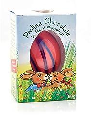 Idea Regalo - Gut Springenheide Guscio d'Uovo Naturale con Cioccolato alle Nocciole Righe Rosa- 1 x 50 Grammi