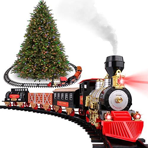 Classic Christmas Holiday Train Set with Real Smoke, Lights and Sounds, Locomotive Steam Engine and 3 Train Cars, Tracks and Christmas Spirit, for Christmas Decoration Gift