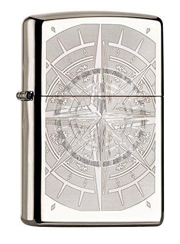Zippo PL Compass 60001008 Feuerzeug, Messing, Schwarz, 1 x 3,5 x 5,5 cm