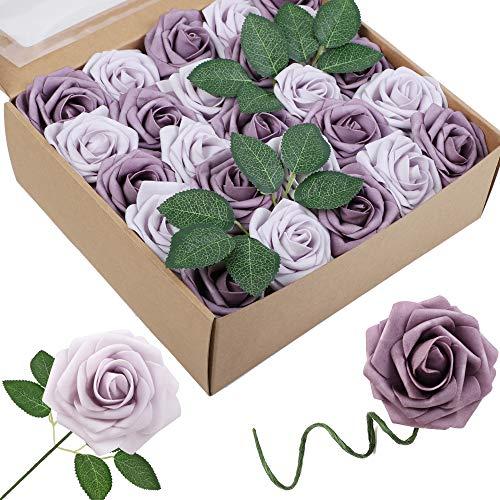Homcomodar Künstliche Rose 30Pc Künstliche Blume Gefälschte Rosen für Die Hochzeit (50Pc, Violett & Lila)