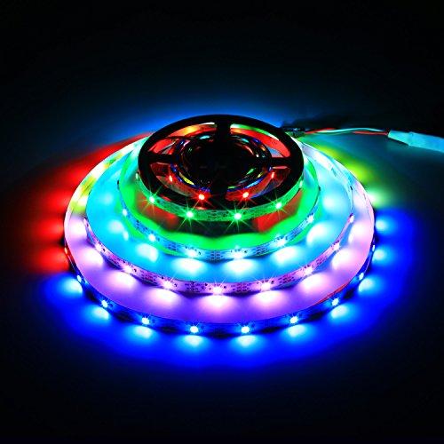 WS2812B Luz de tira llevada, Dream Color 16.4FT / 5M 150/300 píxeles 30/60leds / M individualmente direccionable Luz de cuerda digital, DC 5V No resistente al agua LED Ribon Light (5M-WS2812B-30-NP)