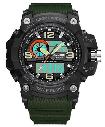 QMMCK Cuarzo Hombres Deportes al Aire Libre Reloj Impermeable Multifuncional Doble Pantalla Electrónico Reloj - Luminosa Resistencia a Prueba de Golpes a la Caída, Green