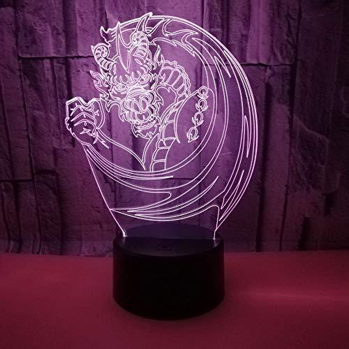 3D Veilleuse Enfant LED Lampe de Chevet Optiques Illusions Lampe de Nuit 7 Couleurs Ajustables Câble USB Cadeau Jouets (Dragon),Interrupteur Tactile