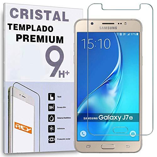 REY Protector de Pantalla para Samsung Galaxy J7 2016 Cristal Vidrio Templado Premium