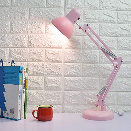 WWWL Lámpara Escritorio Long Arm Pink Desk Lamp USB Port Charge 3 Color Temperature Dimming Adjustable Clip LED Lights for Desktop Library Dormitory Lámpara de Mesa Pink