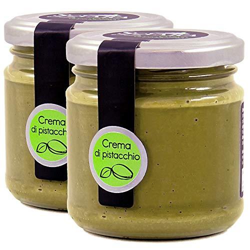 SCIARA - Crema di Pistacchio Spalmabile su Pane, Fette Biscottate, per Farcire Torte e Crepes. Con il 35% di Pistacchi. Senza Glutine e Senza Uova - 2 pezzi X 190g