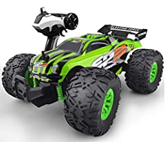 Realistic Off-road Monster Truck Looks: With large scale (11x 7 x 5 inch) design makes it more realistic, anti-skid high performance rubber tire allows you to drive the rc car in all terrains like beach, sand, rock or concrete road, the monster truck...