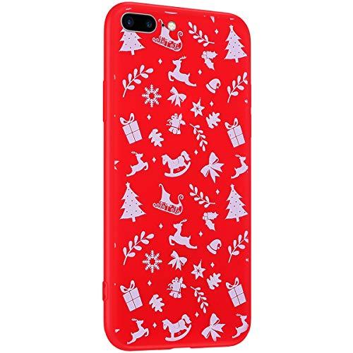 Surakey Cover Compatibile con iPhone 7 Plus/8 Plus Custodia Silicone Morbido Serie di Natale Modello Case con Flessibile TPU Bumper Moda Ultra Slim Soft Touch Cover per iPhone 7 Plus/8 Plus,Natale