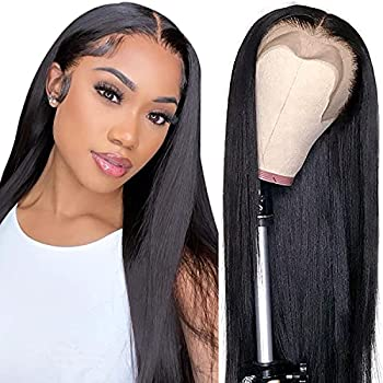 Straight Lace Front Wigs Human Hair 9A Brazilian Virgin Human Hair 13x4 Lace Frontal Wigs Human Hair for Black Women 150% Density Pre Plucked with Baby Hair Natural Hairline  16 inch