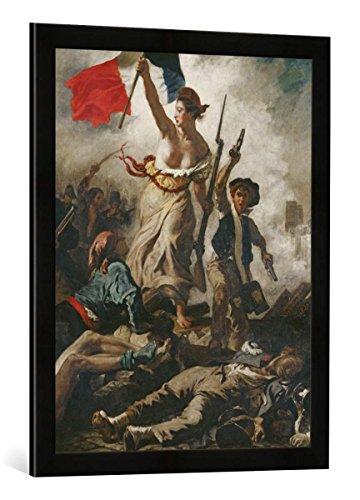 Gerahmtes Bild von Eugène Delacroix Die Freiheit führt das Volk, Kunstdruck im hochwertigen handgefertigten Bilder-Rahmen, 50x70 cm, Schwarz matt