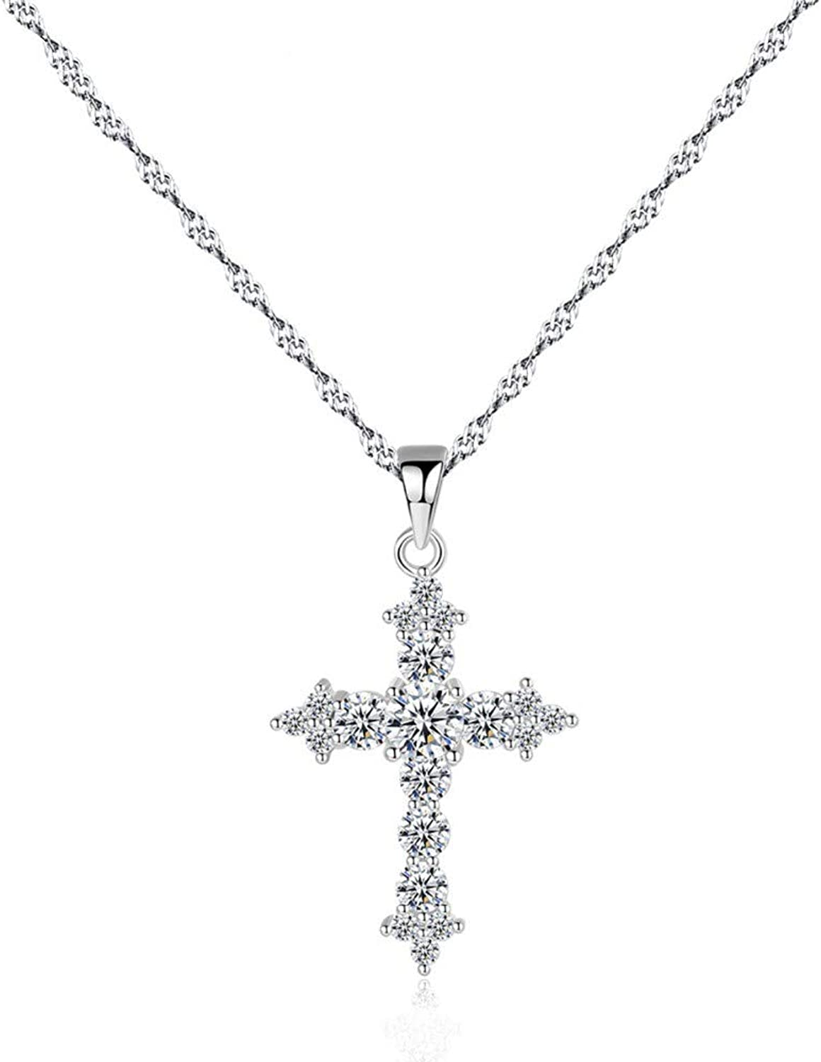 QMM necklace Pendant 925 Sterling Silver AAA+ Cubic Zircon Brilliant Cross Pendant Necklace Exquisite Twisted Chain Necklace Sterling Jewelry