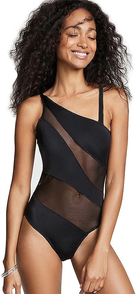 JOYATHENA Women One Piece Swimsuits One Shoulder Spaghetti Mesh Bikini Bathing Suits Black Swimwear