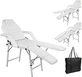 "75"" Adjustable Salon SPA Pedicure Massage Tattoo Therapy Bed Split Leg Chair Beauty Equipment White"