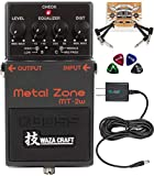 BOSS MT-2W Waza Craft Metal Zone Distortion Pedal Bundle with Blucoil Slim 9V Power Supply AC Adapter, 2-Pack of Pedal Patch...