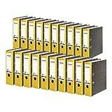 Falken - Confezione da 20 raccoglitori in cartone riciclato, con motivo marmorizzato, larghezza 8 cm, formato DIN A4, dorso giallo, dorso, colore: Blu