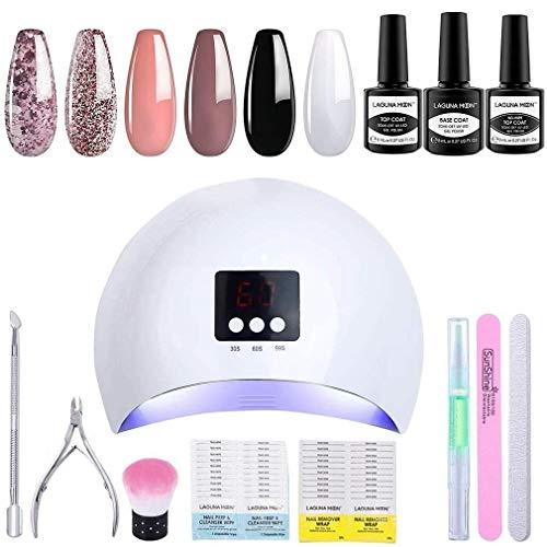 Lagunamoon Gel Nail Polish Set with 36W Nail Lamp,Manicure Salon Set Includes 6 Colours Black White Nude Pink Bling Gel Polish,Gel Base Coat and Top Coat,Prep & Wipe,Gel Nail Cleanser Remover Kit