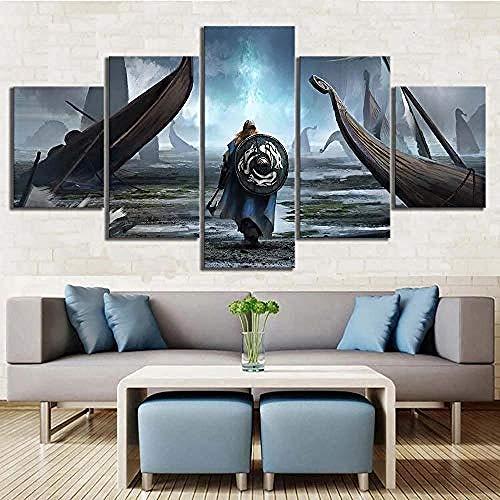 Zxwd Wandkunst Leinwand Poster Leinwand Malerei Wandkunst Modulare Bilder 5 Stücke WikingerHd Druckplakat Home Dekorative Moderne Wohnzimmer