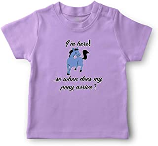 I'm Here! So When Does My Pony Arrive? Crewneck Boys-Girls Cotton T-Shirt