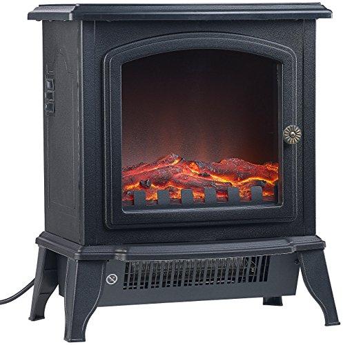 Sichler Haushaltsgeräte Elektroofen mit Flamme: Elektro-Kamin in Nostalgie-Optik, Flammeneffekt, 2 Stufen, 2.000 Watt (Mini Elektro Kamin)