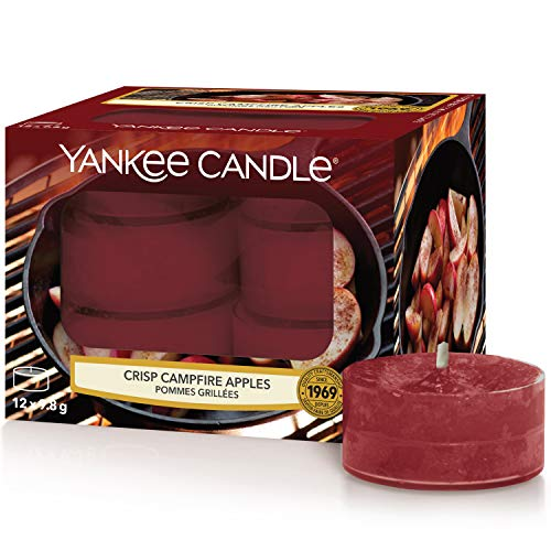 Yankee Candle Tea Light Candele Profumate | 12 Pezzi | Mele Croccanti sul Fuoco | Luce del tè (x12)