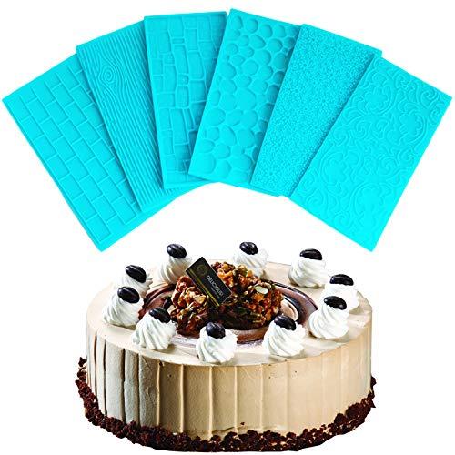 Cake Border Mat Silikon Kuchen Spitze Formen Fondant Kuchenform Cake Decor Mat Kuchen Schablone Sugarcraft Textur Präge Matte Blau Textur Backform DIY Steinmauer Rinde Stadtmauer 6 Stück(blau)