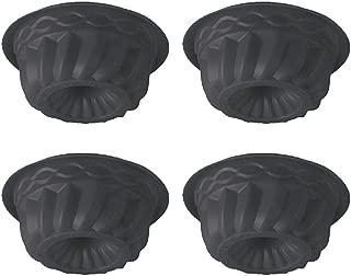 QELEG 4Pcs Mini Silicone Bundt Cake Mold, Oven Roasting Baking Mini Fluted Tube Cake Mold-5 Inch (Black)
