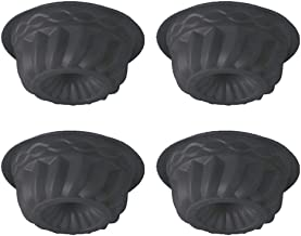 QELEG 4Pcs Mini Silicone Bundt Cake Mold, Oven Roasting Baking Mini Fluted Tube Cake Mold-5 Inch (Black)