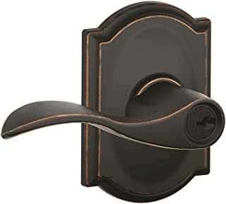 Schlage Accent Lever with Camelot Trim Keyed Entry Lock in Aged Bronze - F51A ACC 716 CAM