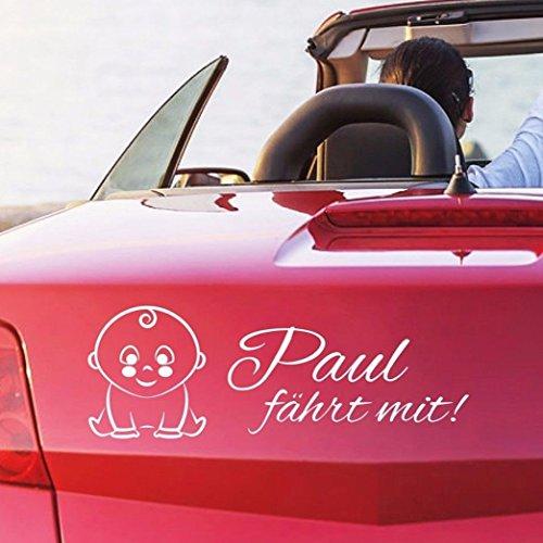 tjapalo® pkm236 Babyaufkleber Auto mit Namen Junge Auto Sticker Baby fährt mit Wunschname (breite38cm)