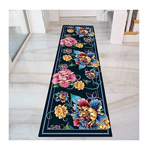 HAIPENG Colorato Floreale Tappeto Corridoio Passatoia, 3D Iscrizione Tappeti con Antiscivolo Indietro for Ingresso Cucina, Blu, 60cm / 70cm / 80cm Largo (Color : Multi-Colored, Size : 80x400cm)