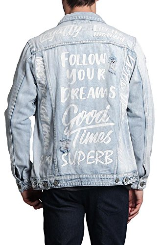 Victorious Men's Scribbled Street Motivational Text Casual Distressed Denim Jean Jacket DK107 - Light Indigo - Small - II9H