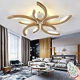 Wohnzimmerlampe Holz LED Deckenleuchte Dimmbar 5 Flammig Wohnzimmer Lampe mit Fernbedienung 30W Weiß Acryl-Schirm Deckenlampe Warmweiss-Kaltweiss Lichtfarbe/Helligkeit Einstellbar (2700-6500K)