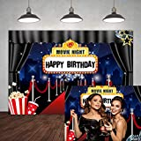 5×3ft Hollywood Movie Night Happy Birthday Backdrop Marquee Red Carpet Theme Adults Party Banner Decorations Popcorn Film Stars Celebrity Background for Photography Portrait Photo Shooting Studio Prop