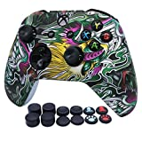 RALAN Controller Cover Silicone, Silicone Controller Cover Skin Protector Compatible for Xbox Ones Controller (Black Pro Thumb Grip x 8,Cat + Skull Cap Cover Grip x 2) (Phnom Penh Dragon)