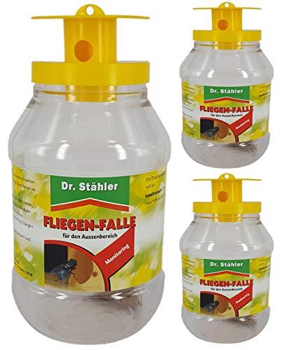 Dr. Stähler 001335 Biologische Fliegenfalle für Terrassen, Garten oder Balkon mit Langzeitwirkung, 3 Stück