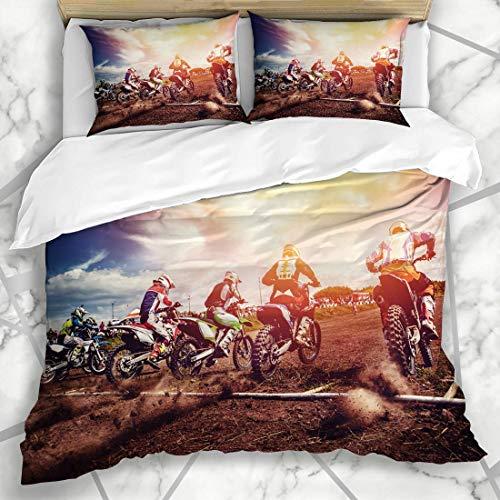 Funda nórdica Conjuntos Dirt Cross Atletas del equipo en bicicletas de montaña Inicio de Freestyle Motocross Recreación deportiva Moto Jump Ropa de cama de microfibra con 2 fundas de almohada