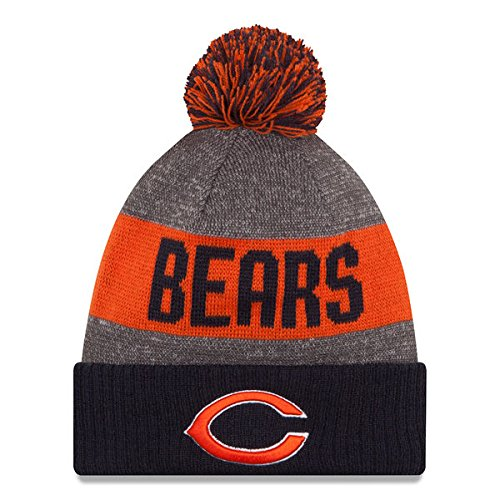 73d82286b New Era Knit Chicago Bears Orange On Field Sideline Winter Stocking Beanie  Pom Hat Cap 2015