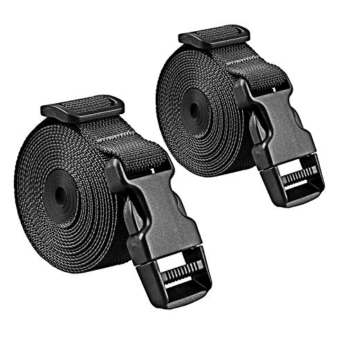 Premium Utility Straps with Quick Release Buckle Adjustable Heavy Duty Long Nylon Tie Down Straps Lashing Straps for Backpack Tactical Camping Gear Sleeping Bag Mattress(Black 2Pcs/13.5ft)
