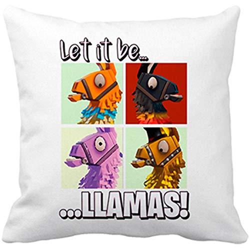 Cojín con Relleno ilustración Parodia Let It Be Llamas - Blanco, 35 x 35 cm