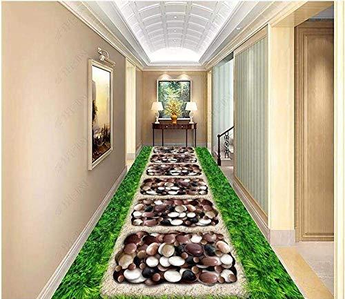 Giow PVC Autoadhesivo Papel Tapiz 3D para Pisos Mural Verde Césped Adoquines Jardín Corredor Decoración de Pisos Interiores Pintura a 300 * 210 cm