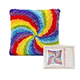 XTLGS Latch Hook Kits,DIY Throw Pillow Cover,Carpet Pattern Needlework Cushion Cover Hand Craft Crochet,15.7X15.7 inch