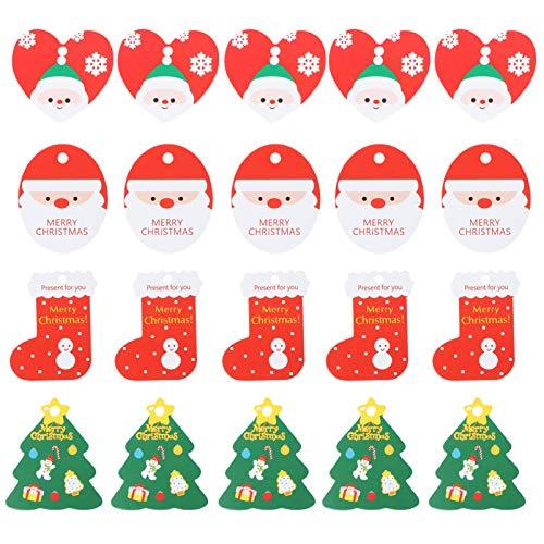 EXCEART 200Pcs Weihnachtsgeschenkanhänger Kraftpapier Santa Strumpf Herz Hängen Tags Cartoon Weihnachten Behandelt Zeichen Tag mit Löchern für Weihnachten Party Gunst