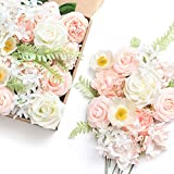 Ling's moment Elegant Blush Artificial Wedding Flowers Combo for DIY Bouquets Centerpieces Flower...